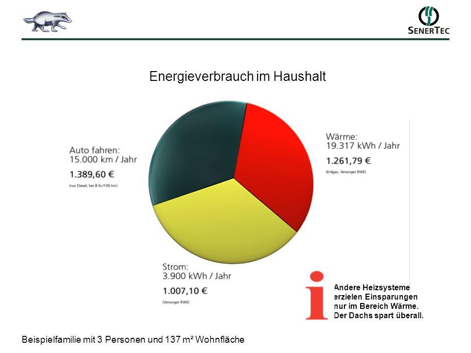 Energieverbrauch im Haushalt Beispielfamilie mit 3 Personen und 137 m² Wohnfläche Andere Heizsysteme erzielen Einsparungen nur im Bereich Wärme. Der D