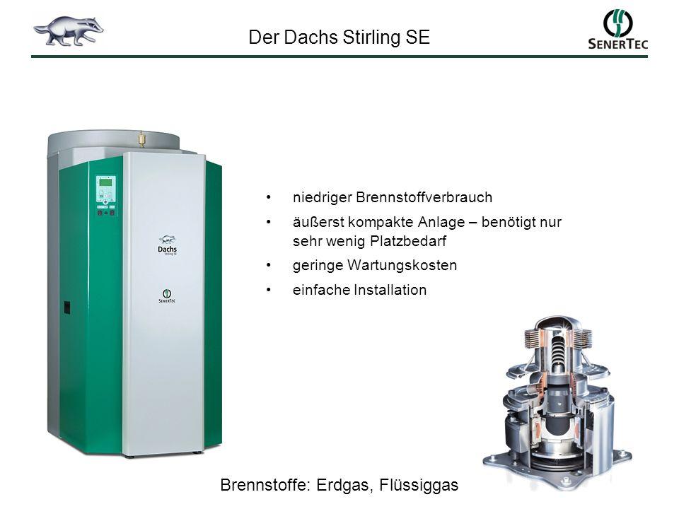 niedriger Brennstoffverbrauch äußerst kompakte Anlage – benötigt nur sehr wenig Platzbedarf geringe Wartungskosten einfache Installation Brennstoffe: