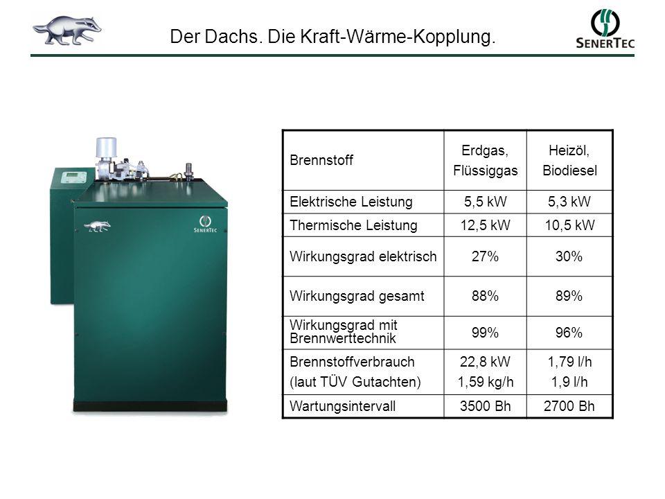 Brennstoff Erdgas, Flüssiggas Heizöl, Biodiesel Elektrische Leistung5,5 kW5,3 kW Thermische Leistung12,5 kW10,5 kW Wirkungsgrad elektrisch27%30% Wirku