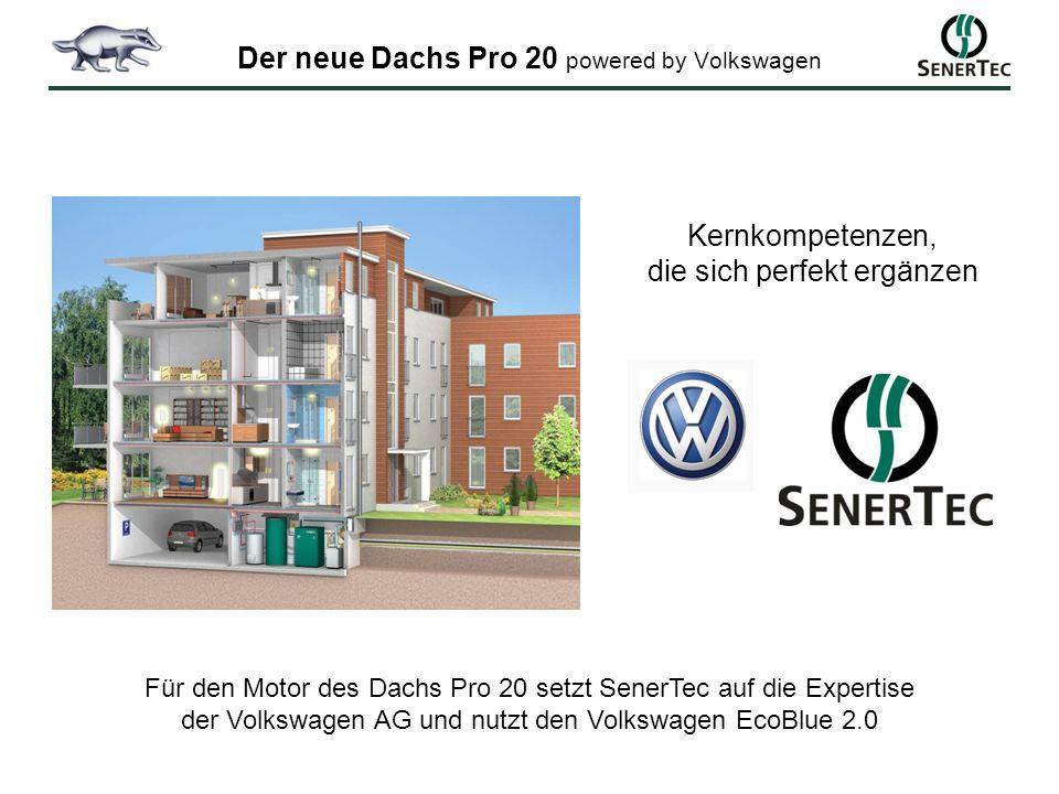 Kernkompetenzen, die sich perfekt ergänzen Für den Motor des Dachs Pro 20 setzt SenerTec auf die Expertise der Volkswagen AG und nutzt den Volkswagen