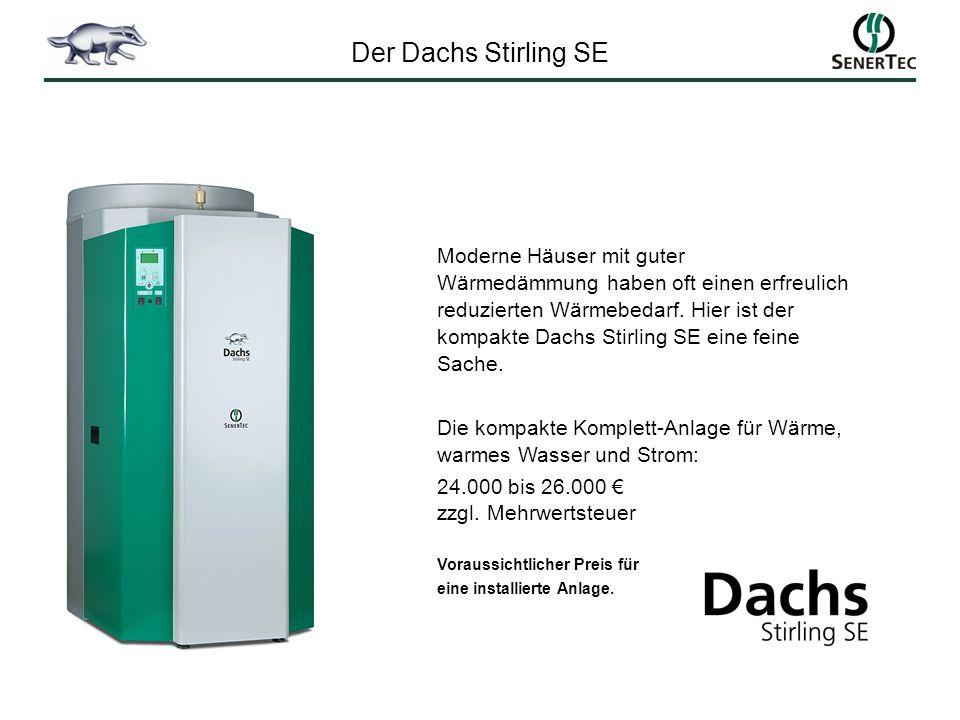 Moderne Häuser mit guter Wärmedämmung haben oft einen erfreulich reduzierten Wärmebedarf. Hier ist der kompakte Dachs Stirling SE eine feine Sache. Di