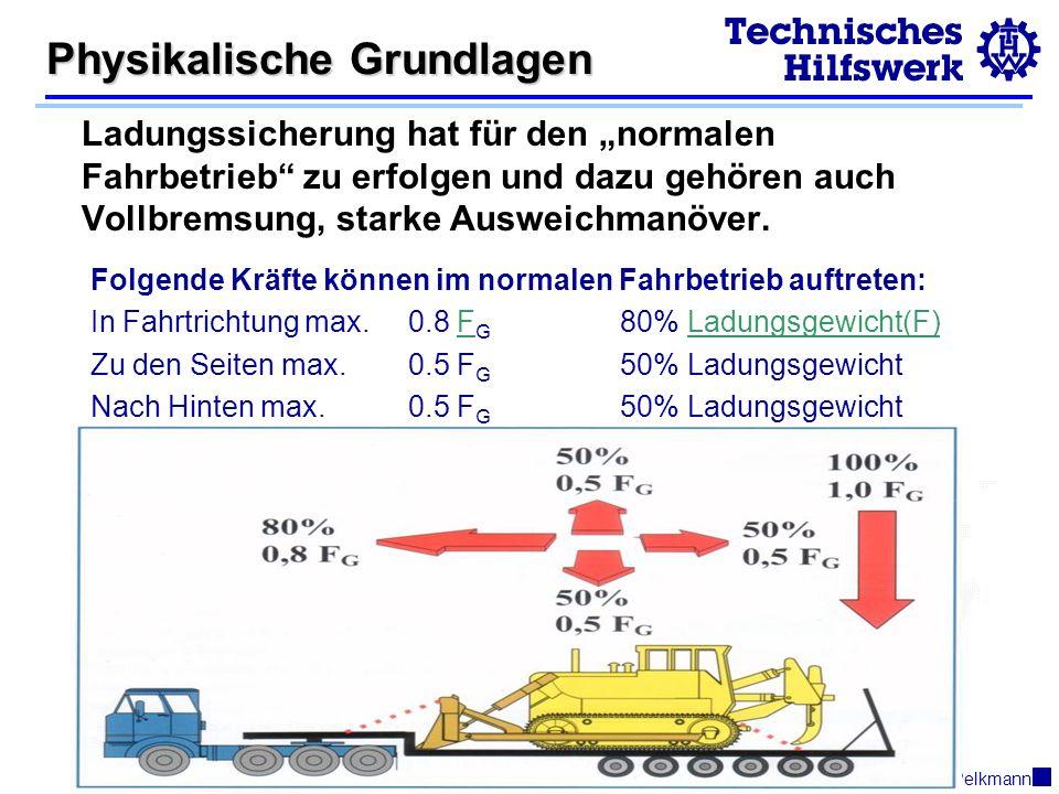 © 2003R.Pelkmann Physikalische Grundlagen Ladungssicherung hat für den normalen Fahrbetrieb zu erfolgen und dazu gehören auch Vollbremsung, starke Ausweichmanöver.