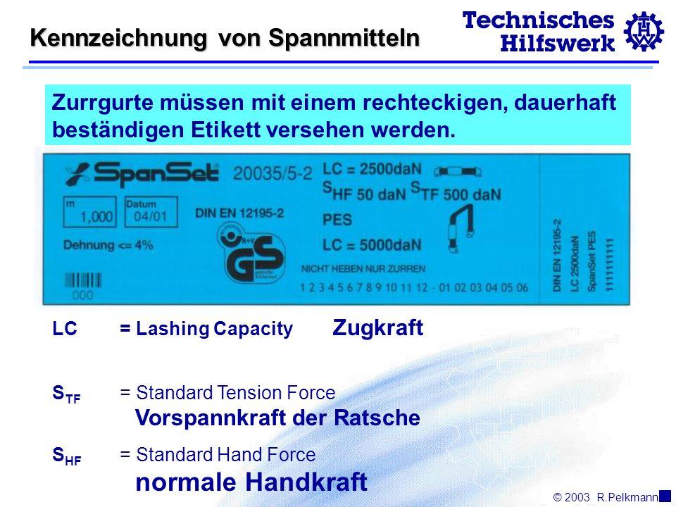 © 2003R.Pelkmann Kennzeichnung von Spannmitteln Zurrgurte müssen mit einem rechteckigen, dauerhaft beständigen Etikett versehen werden.