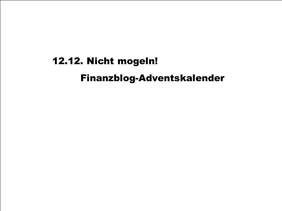 12.12. Nicht mogeln! Finanzblog-Adventskalender