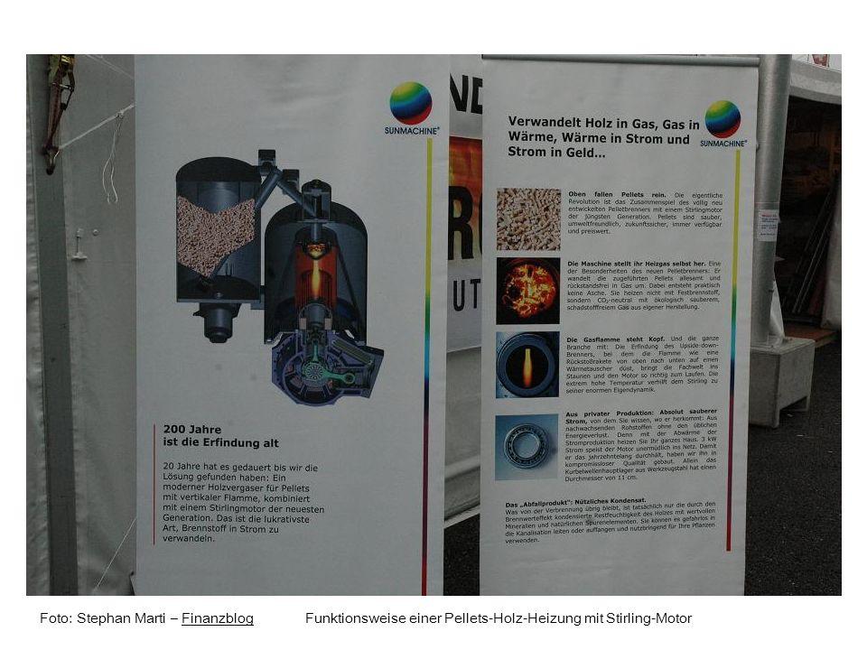 Foto: Stephan Marti – Finanzblog Funktionsweise einer Pellets-Holz-Heizung mit Stirling-MotorFinanzblog