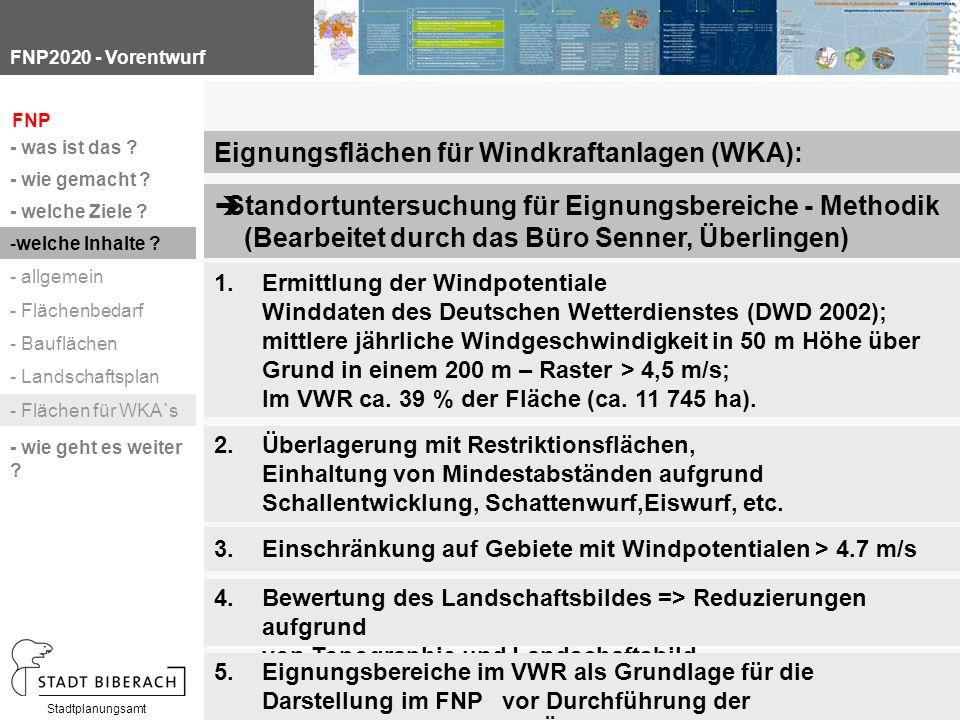 FNP2020 - Vorentwurf Stadtplanungsamt Standortuntersuchung für Eignungsbereiche - Methodik (Bearbeitet durch das Büro Senner, Überlingen) Eignungsflächen für Windkraftanlagen (WKA): 1.Ermittlung der Windpotentiale Winddaten des Deutschen Wetterdienstes (DWD 2002); mittlere jährliche Windgeschwindigkeit in 50 m Höhe über Grund in einem 200 m – Raster > 4,5 m/s; Im VWR ca.