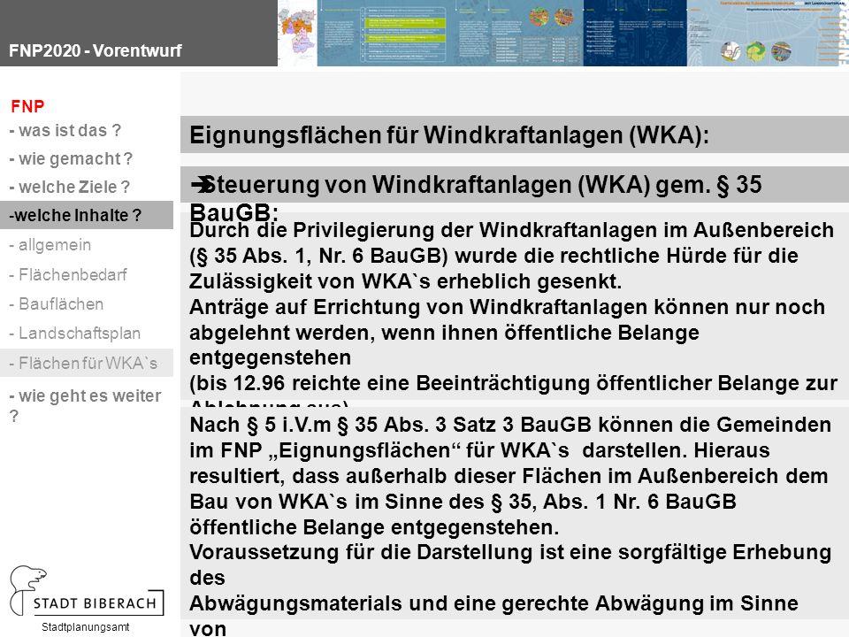 FNP2020 - Vorentwurf Stadtplanungsamt Durch die Privilegierung der Windkraftanlagen im Außenbereich (§ 35 Abs.
