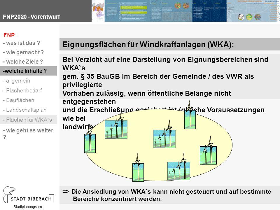 FNP2020 - Vorentwurf Stadtplanungsamt Bei Verzicht auf eine Darstellung von Eignungsbereichen sind WKA`s gem.