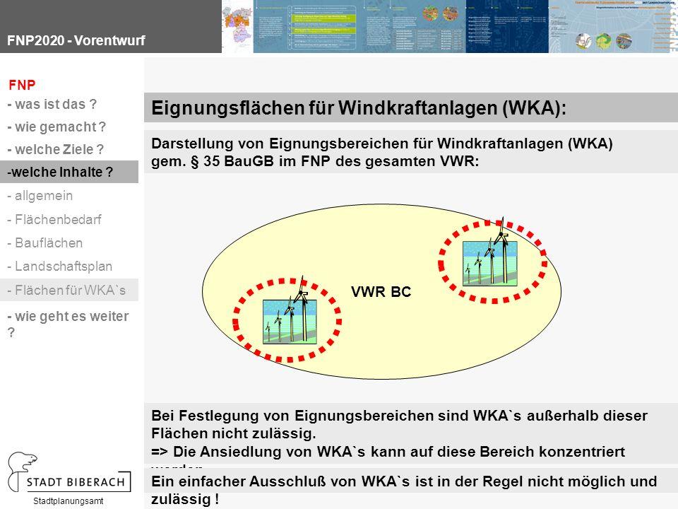 FNP2020 - Vorentwurf Stadtplanungsamt Darstellung von Eignungsbereichen für Windkraftanlagen (WKA) gem.