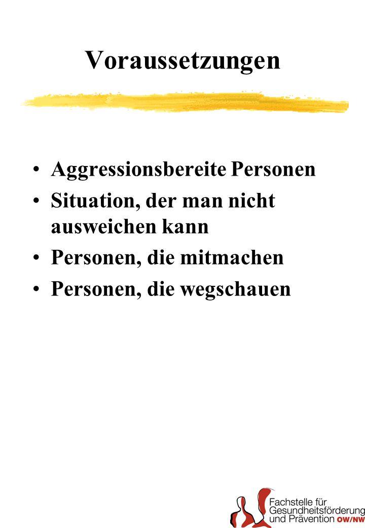 Voraussetzungen Aggressionsbereite Personen Situation, der man nicht ausweichen kann Personen, die mitmachen Personen, die wegschauen