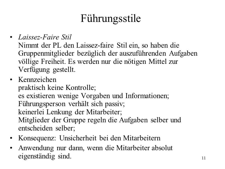 11 Führungsstile Laissez-Faire Stil Nimmt der PL den Laissez-faire Stil ein, so haben die Gruppenmitglieder bezüglich der auszuführenden Aufgaben völlige Freiheit.