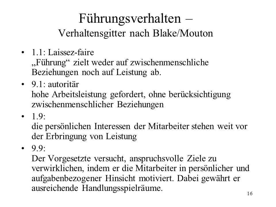 16 Führungsverhalten – Verhaltensgitter nach Blake/Mouton 1.1: Laissez-faire Führung zielt weder auf zwischenmenschliche Beziehungen noch auf Leistung ab.