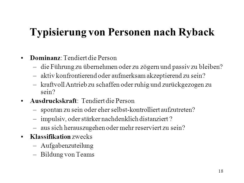 18 Typisierung von Personen nach Ryback Dominanz: Tendiert die Person –die Führung zu übernehmen oder zu zögern und passiv zu bleiben.