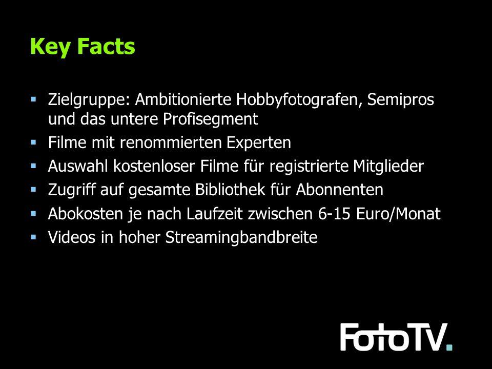 Key Facts Zielgruppe: Ambitionierte Hobbyfotografen, Semipros und das untere Profisegment Filme mit renommierten Experten Auswahl kostenloser Filme fü