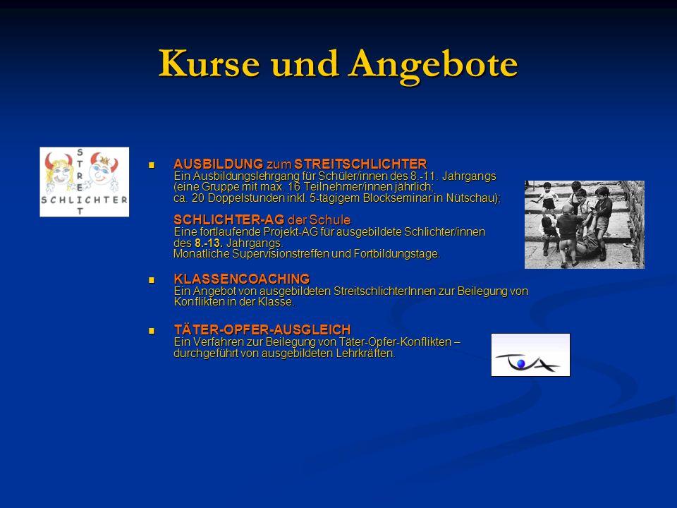 Kurse und Angebote AUSBILDUNG zum STREITSCHLICHTER Ein Ausbildungslehrgang für Schüler/innen des 8.-11.