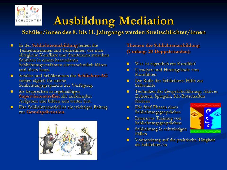 Ausbildung Mediation Schüler/innen des 8.bis 11.