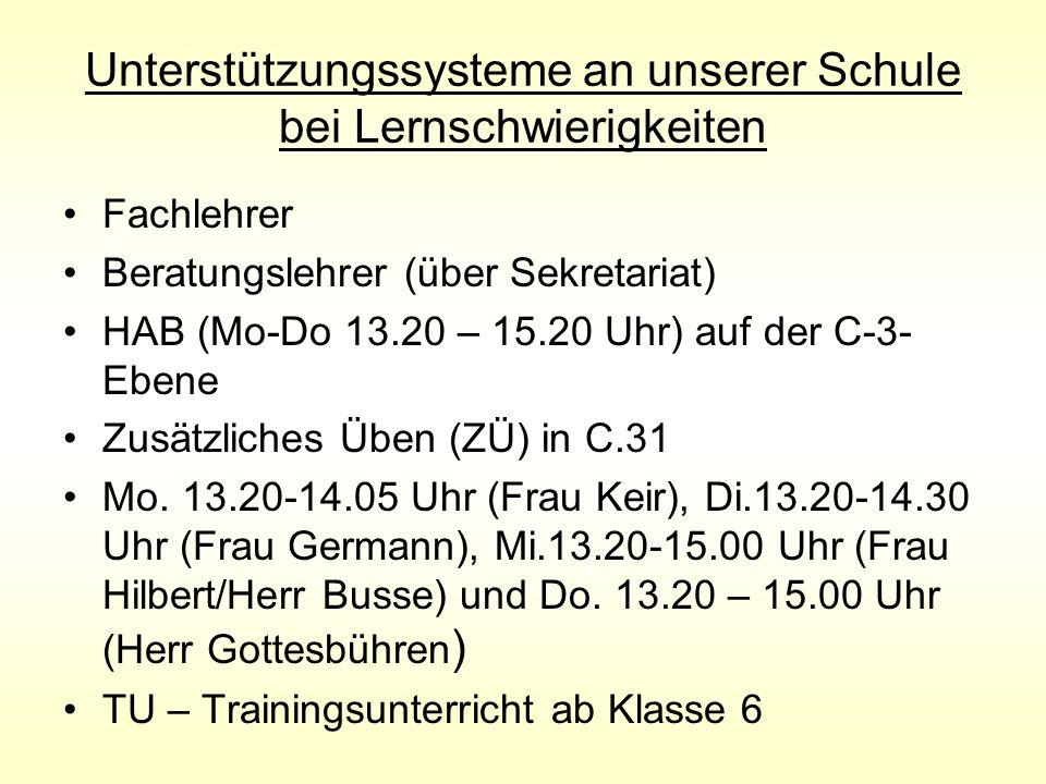 Unterstützungssysteme an unserer Schule bei Lernschwierigkeiten Fachlehrer Beratungslehrer (über Sekretariat) HAB (Mo-Do 13.20 – 15.20 Uhr) auf der C-