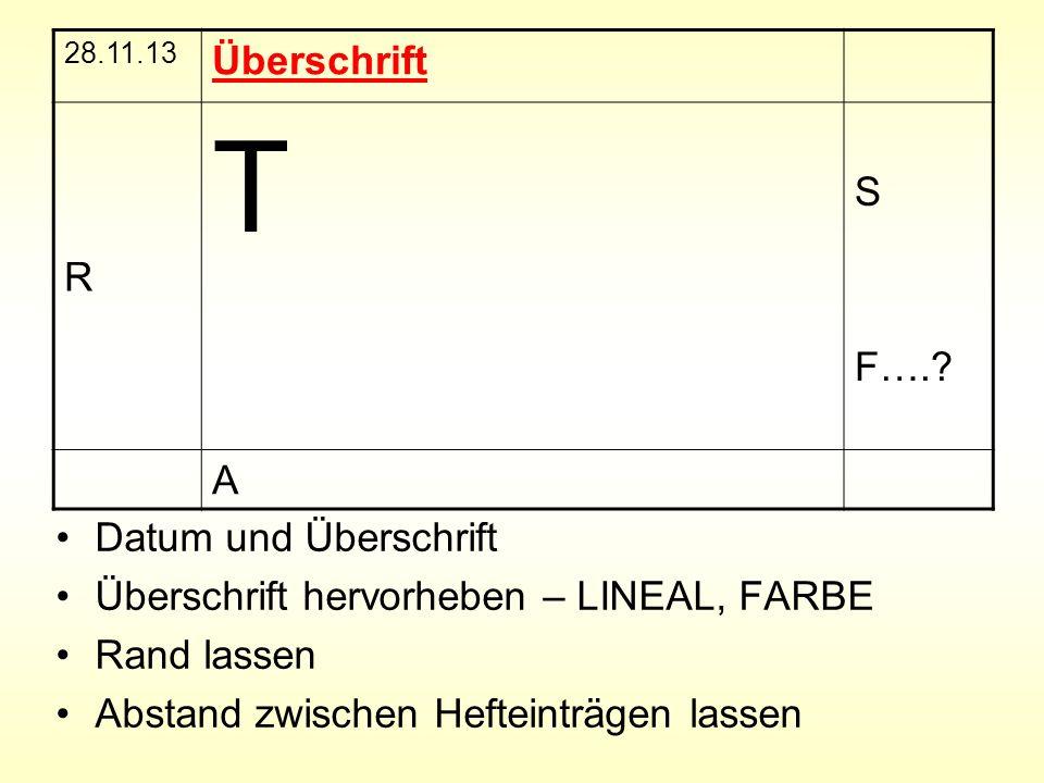 Datum und Überschrift Überschrift hervorheben – LINEAL, FARBE Rand lassen Abstand zwischen Hefteinträgen lassen 28.11.13 Überschrift R T S F….? A