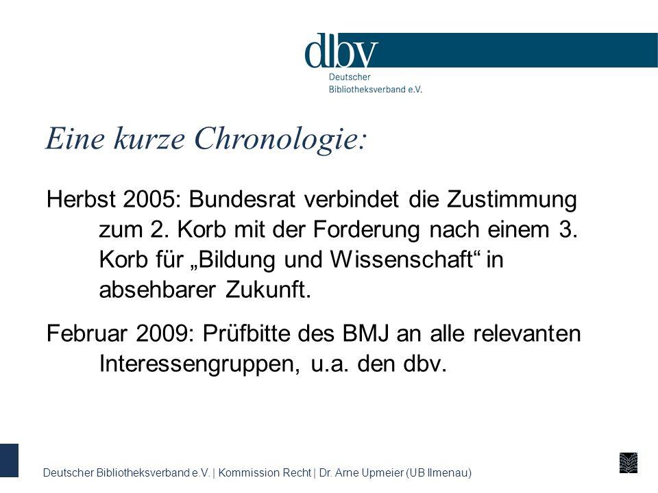 Eine kurze Chronologie: Deutscher Bibliotheksverband e.V. | Kommission Recht | Dr. Arne Upmeier (UB Ilmenau) Herbst 2005: Bundesrat verbindet die Zust