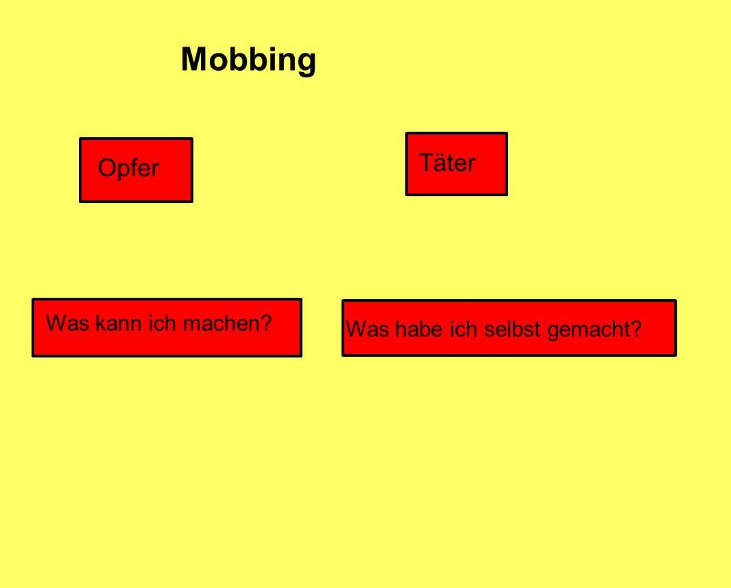 Mobbing Opfer Täter Was kann ich machen? Was habe ich selbst gemacht?