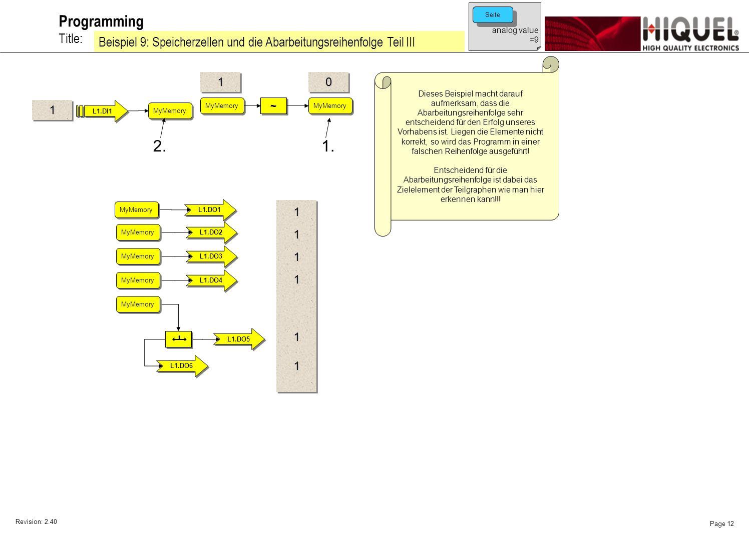 Revision: 2.40 Page 12 Title: Programming Beispiel 9: Speicherzellen und die Abarbeitungsreihenfolge Teil III analog value =9 Seite Dieses Beispiel macht darauf aufmerksam, dass die Abarbeitungsreihenfolge sehr entscheidend für den Erfolg unseres Vorhabens ist.