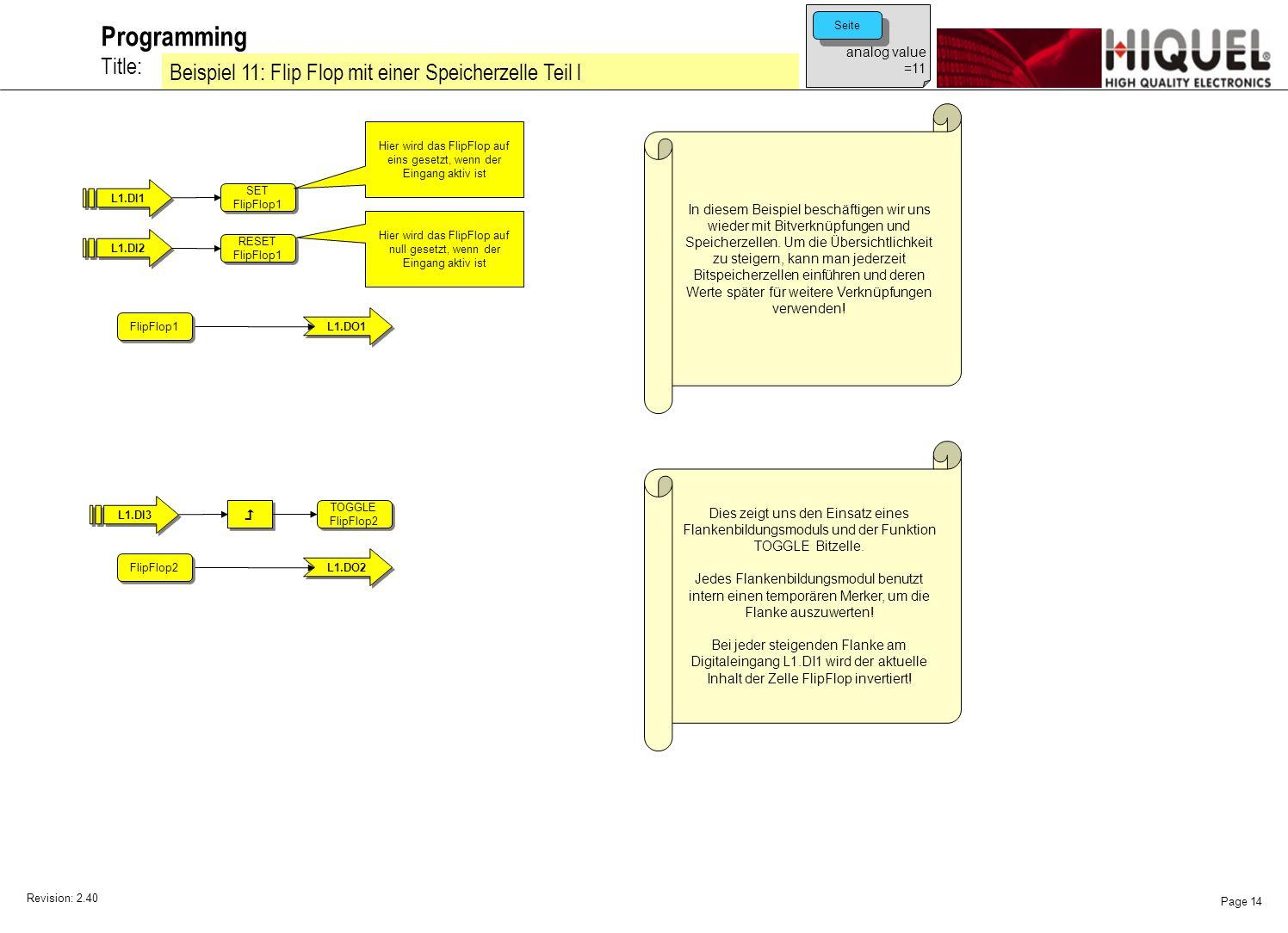 Revision: 2.40 Page 14 Title: Programming Beispiel 11: Flip Flop mit einer Speicherzelle Teil l analog value =11 Seite In diesem Beispiel beschäftigen wir uns wieder mit Bitverknüpfungen und Speicherzellen.