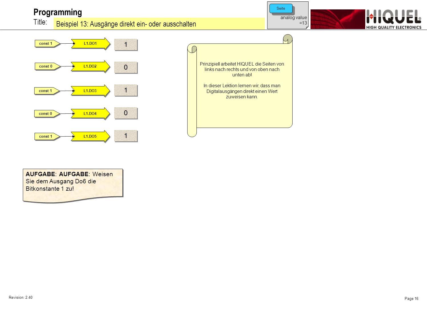 Revision: 2.40 Page 16 Title: Programming Beispiel 13: Ausgänge direkt ein- oder ausschalten Prinzipiell arbeitet HIQUEL die Seiten von links nach rechts und von oben nach unten ab.
