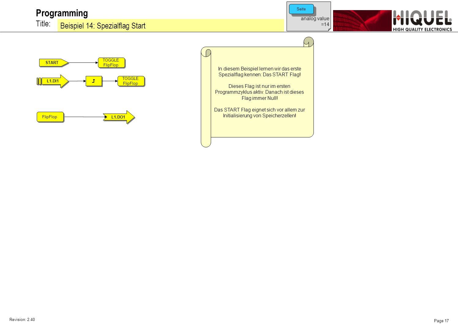 Revision: 2.40 Page 17 Title: Programming Beispiel 14: Spezialflag Start In diesem Beispiel lernen wir das erste Spezialflag kennen: Das START Flag.