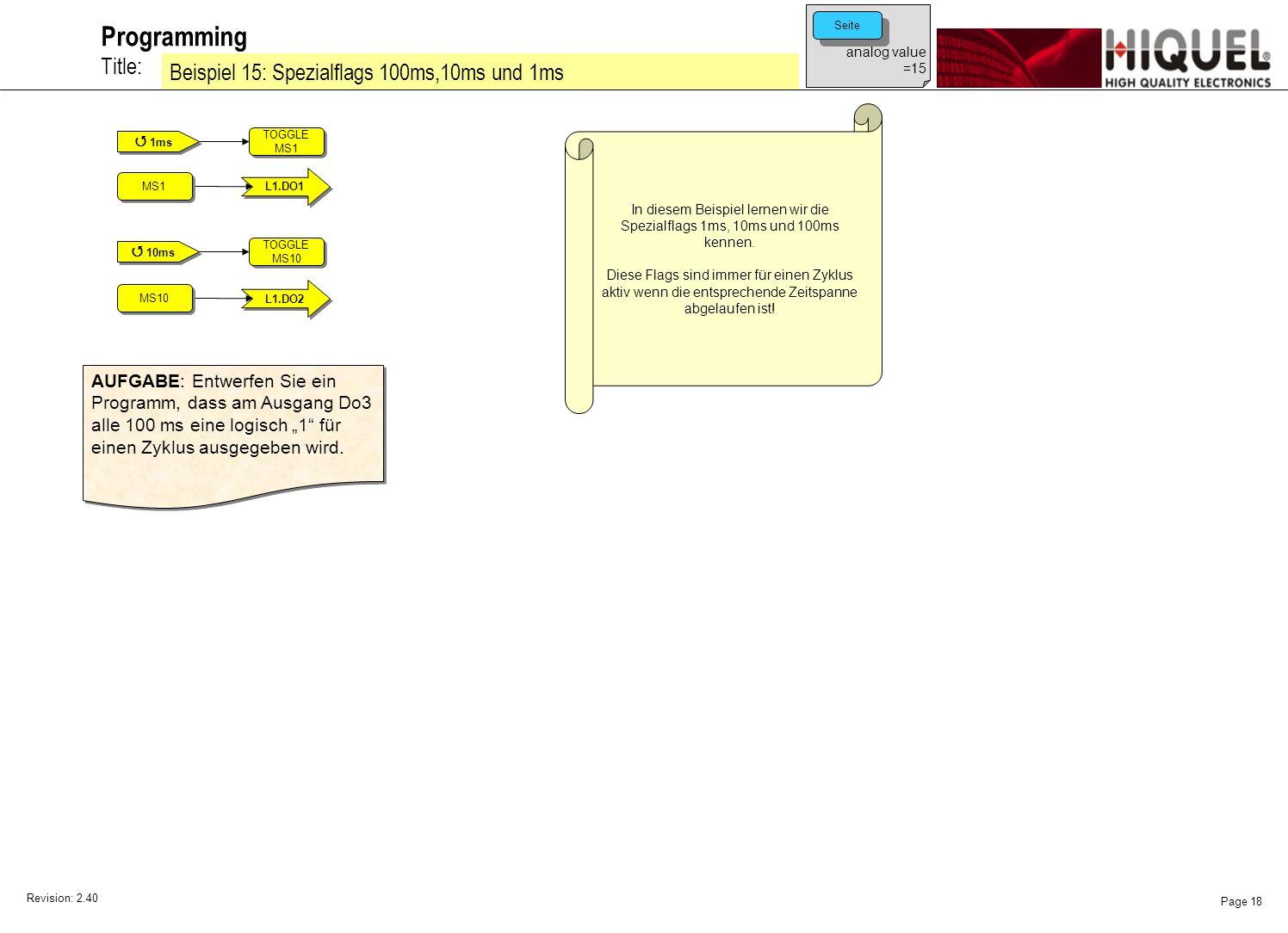 Revision: 2.40 Page 18 Title: Programming Beispiel 15: Spezialflags 100ms,10ms und 1ms analog value =15 Seite In diesem Beispiel lernen wir die Spezialflags 1ms, 10ms und 100ms kennen.