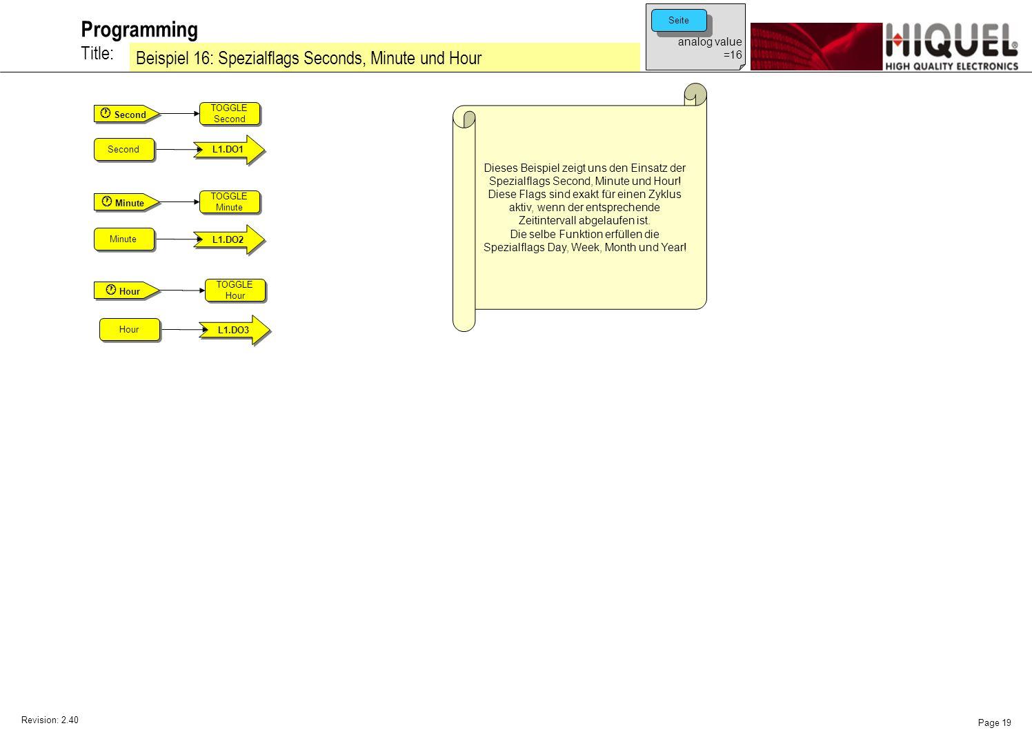 Revision: 2.40 Page 19 Title: Programming Beispiel 16: Spezialflags Seconds, Minute und Hour analog value =16 Seite Dieses Beispiel zeigt uns den Einsatz der Spezialflags Second, Minute und Hour.