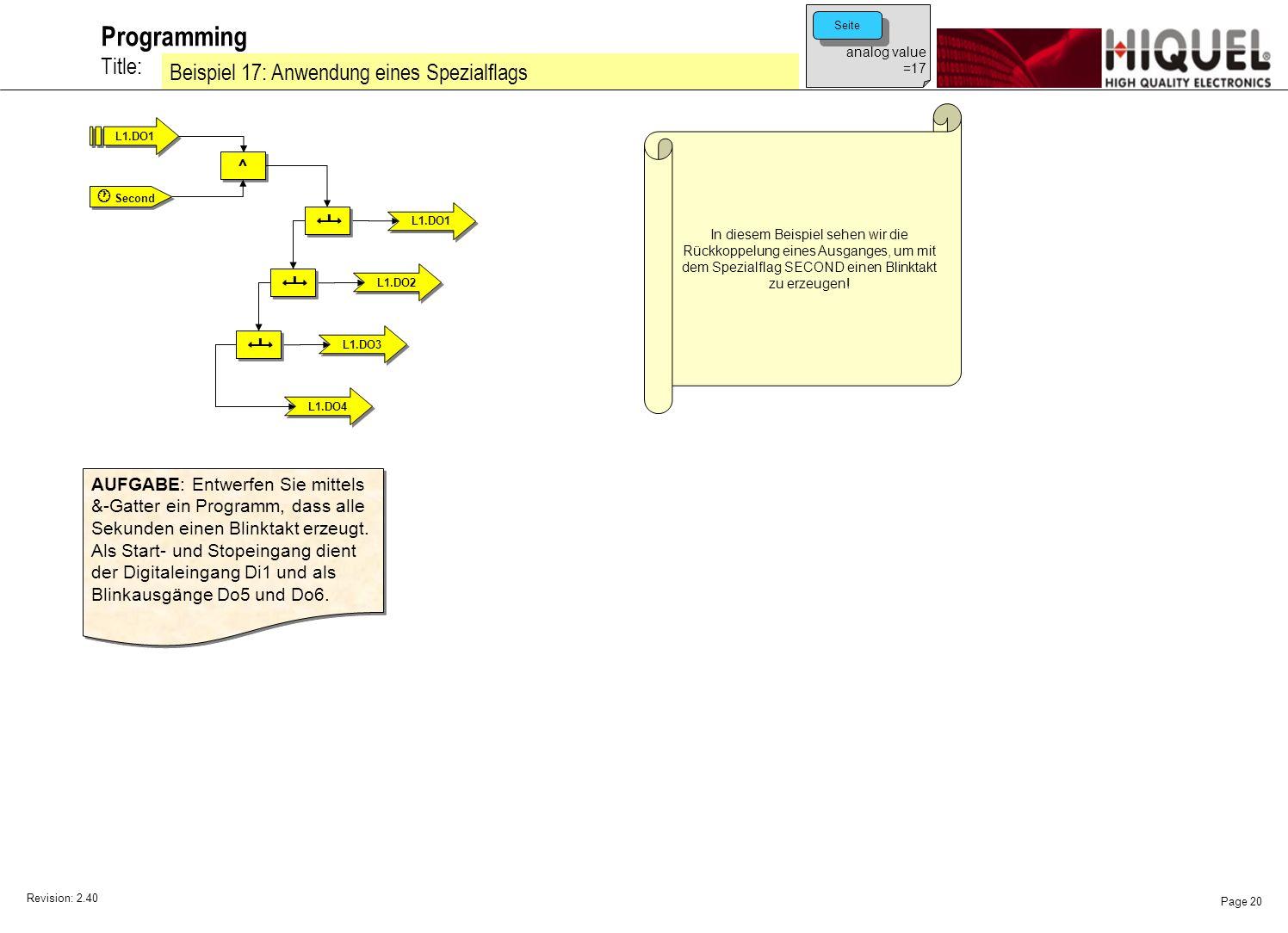 Revision: 2.40 Page 20 Title: Programming Beispiel 17: Anwendung eines Spezialflags analog value =17 Seite In diesem Beispiel sehen wir die Rückkoppelung eines Ausganges, um mit dem Spezialflag SECOND einen Blinktakt zu erzeugen.