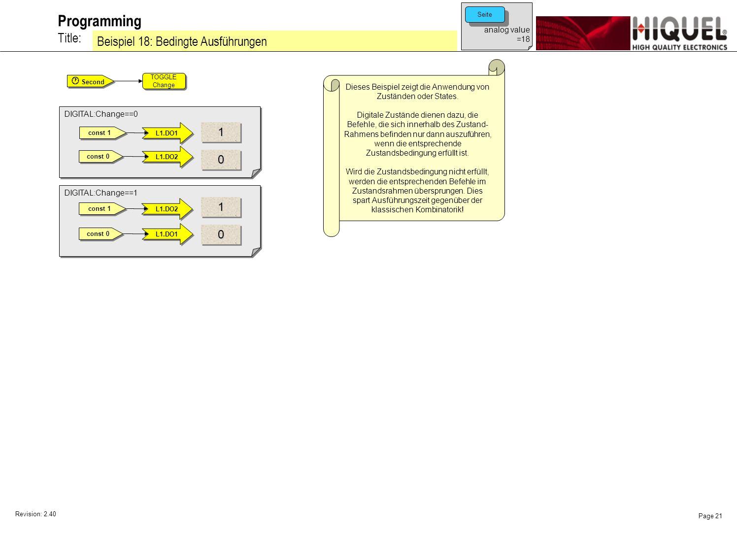 Revision: 2.40 Page 21 Title: Programming Beispiel 18: Bedingte Ausführungen analog value =18 Seite Dieses Beispiel zeigt die Anwendung von Zuständen oder States.