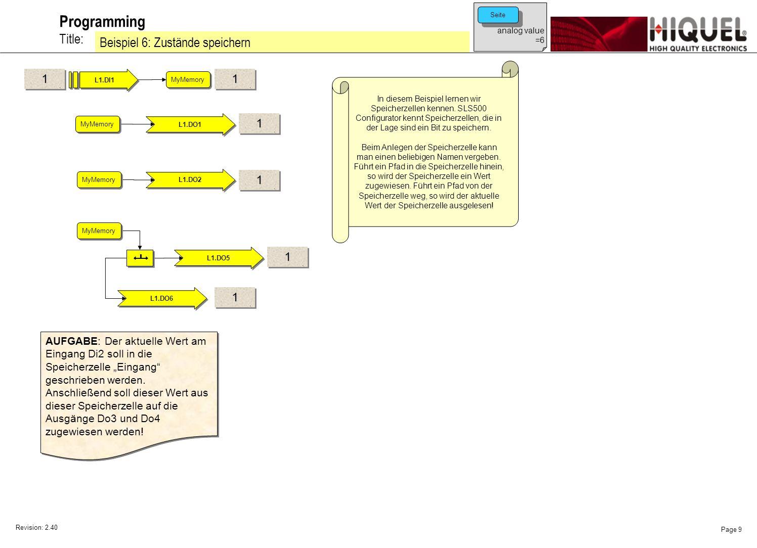 Revision: 2.40 Page 9 Title: Programming Beispiel 6: Zustände speichern analog value =6 Seite In diesem Beispiel lernen wir Speicherzellen kennen.