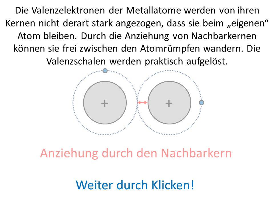 + + Sind die Metallatome in einem Verband (z.B. Feststoff eingefügt, dann ist die Situation anders: