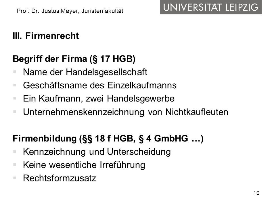 10 Prof. Dr. Justus Meyer, Juristenfakultät III. Firmenrecht Begriff der Firma (§ 17 HGB) Name der Handelsgesellschaft Geschäftsname des Einzelkaufman