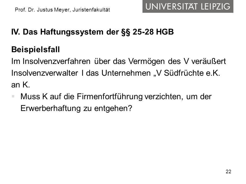 22 Prof. Dr. Justus Meyer, Juristenfakultät IV. Das Haftungssystem der §§ 25-28 HGB Beispielsfall Im Insolvenzverfahren über das Vermögen des V veräuß