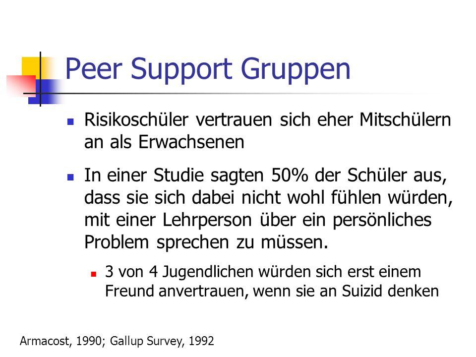 Peer Support Gruppen Risikoschüler vertrauen sich eher Mitschülern an als Erwachsenen In einer Studie sagten 50% der Schüler aus, dass sie sich dabei nicht wohl fühlen würden, mit einer Lehrperson über ein persönliches Problem sprechen zu müssen.