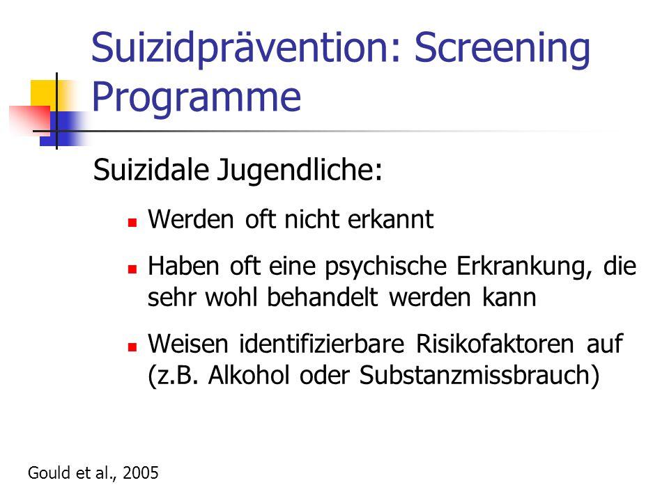 Suizidprävention: Screening Programme Suizidale Jugendliche: Werden oft nicht erkannt Haben oft eine psychische Erkrankung, die sehr wohl behandelt werden kann Weisen identifizierbare Risikofaktoren auf (z.B.