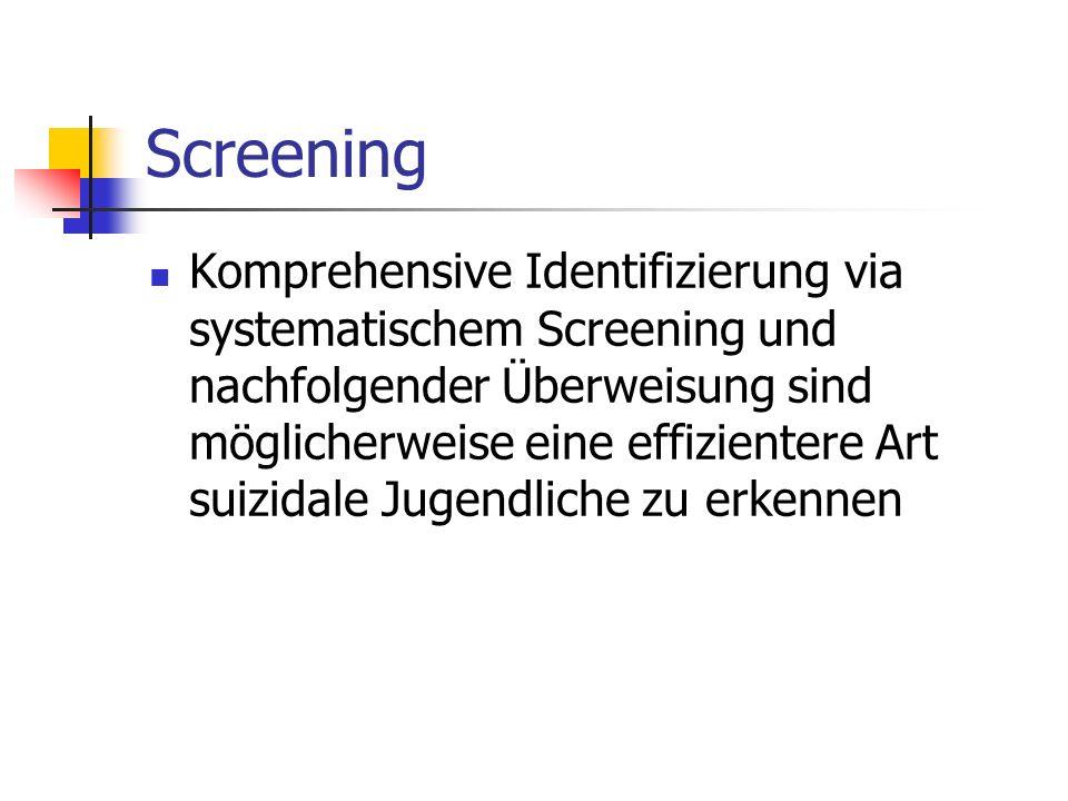 Screening Komprehensive Identifizierung via systematischem Screening und nachfolgender Überweisung sind möglicherweise eine effizientere Art suizidale Jugendliche zu erkennen