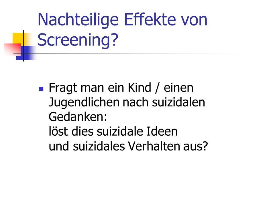 Nachteilige Effekte von Screening.
