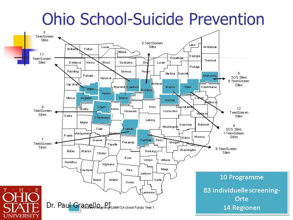 Ohio School-Suicide Prevention 10 Programme 83 individuelle screening- Orte 14 Regionen 10 Programme 83 individuelle screening- Orte 14 Regionen Dr.