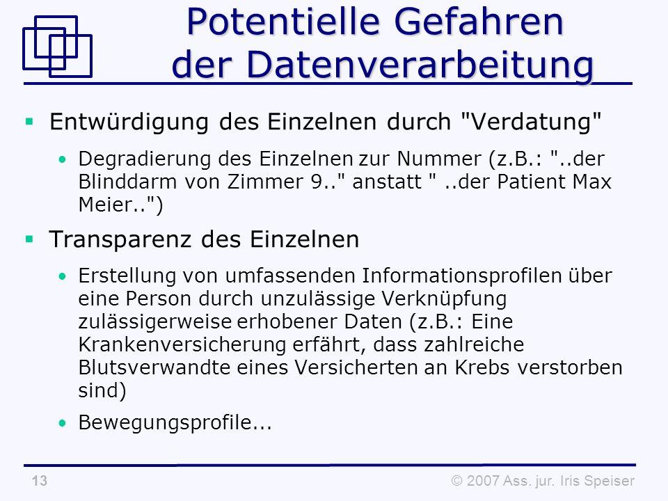 © 2007 Ass. jur. Iris Speiser13 Potentielle Gefahren der Datenverarbeitung Entwürdigung des Einzelnen durch