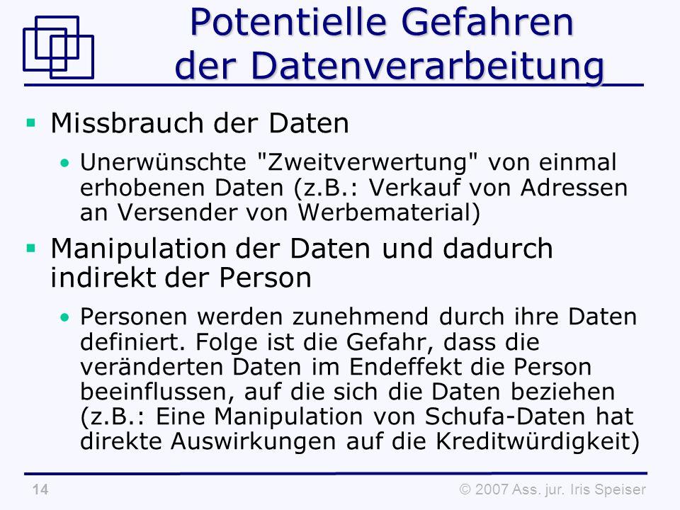 © 2007 Ass. jur. Iris Speiser14 Potentielle Gefahren der Datenverarbeitung Missbrauch der Daten Unerwünschte