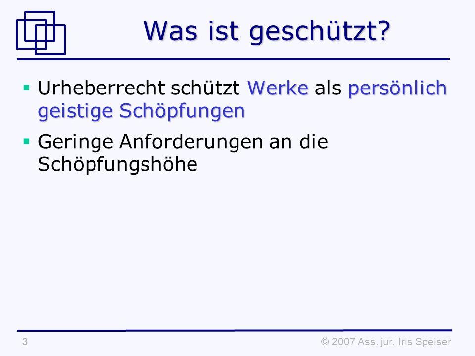 © 2007 Ass.jur. Iris Speiser3 Was ist geschützt.