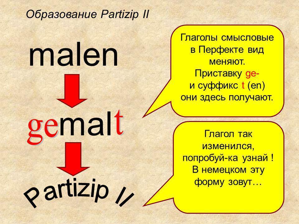 malen mal Глаголы смысловые в Перфекте вид меняют.