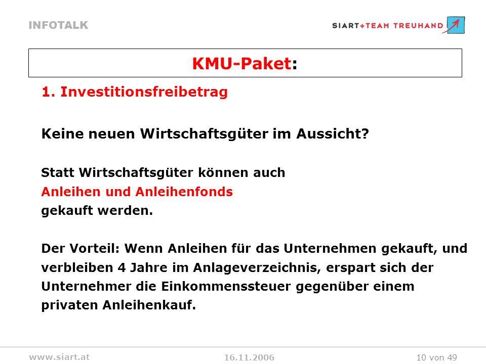 16.11.2006 INFOTALK www.siart.at 10 von 49 1.