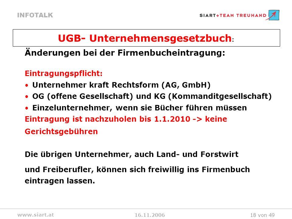 16.11.2006 INFOTALK www.siart.at 18 von 49 Änderungen bei der Firmenbucheintragung: Eintragungspflicht: Unternehmer kraft Rechtsform (AG, GmbH) OG (of