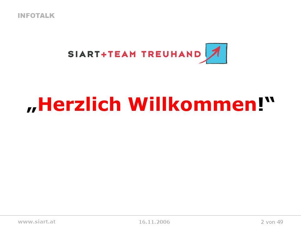 16.11.2006 INFOTALK www.siart.at 2 von 49 Herzlich Willkommen!