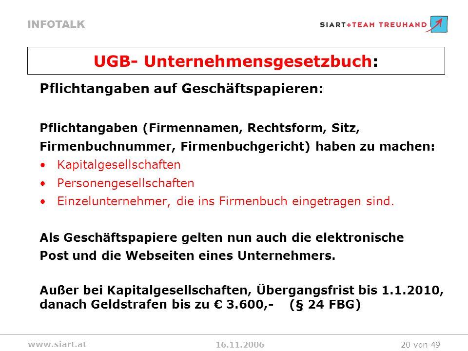 16.11.2006 INFOTALK www.siart.at 20 von 49 Pflichtangaben auf Geschäftspapieren: Pflichtangaben (Firmennamen, Rechtsform, Sitz, Firmenbuchnummer, Firm