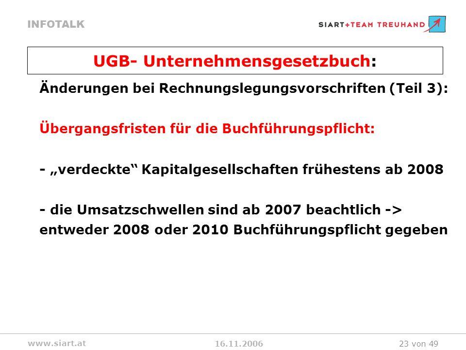 16.11.2006 INFOTALK www.siart.at 23 von 49 Änderungen bei Rechnungslegungsvorschriften (Teil 3): Übergangsfristen für die Buchführungspflicht: - verde